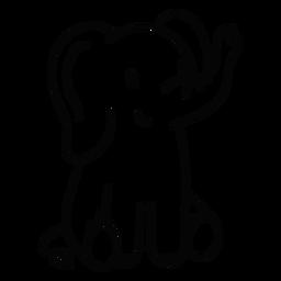 Lindo elefante sentado trazo