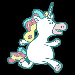 Divertido personaje corriendo unicornio