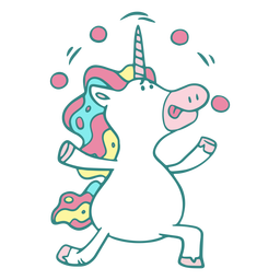 Divertido personaje de malabarismo de unicornio