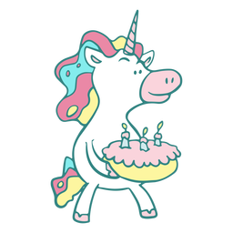 Divertido personaje de pastel de cumpleaños de unicornio