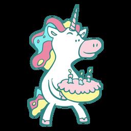 Funny unicorn birthday cake character