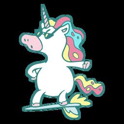 Divertido personaje de surfista unicornio