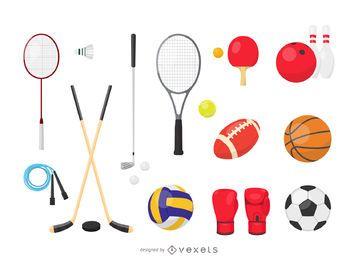 Conjunto de equipamiento deportivo vectorial.