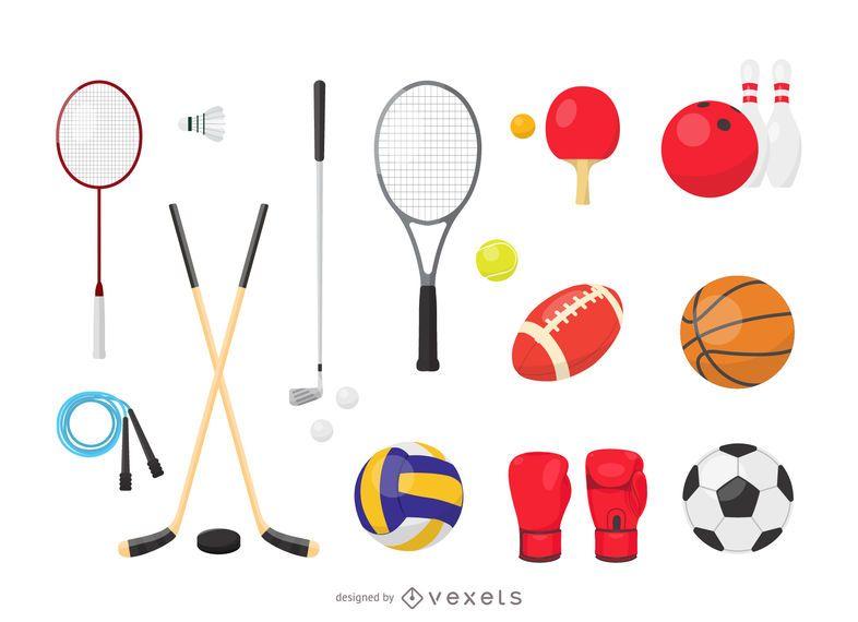Conjunto de equipamentos de vetor de esportes