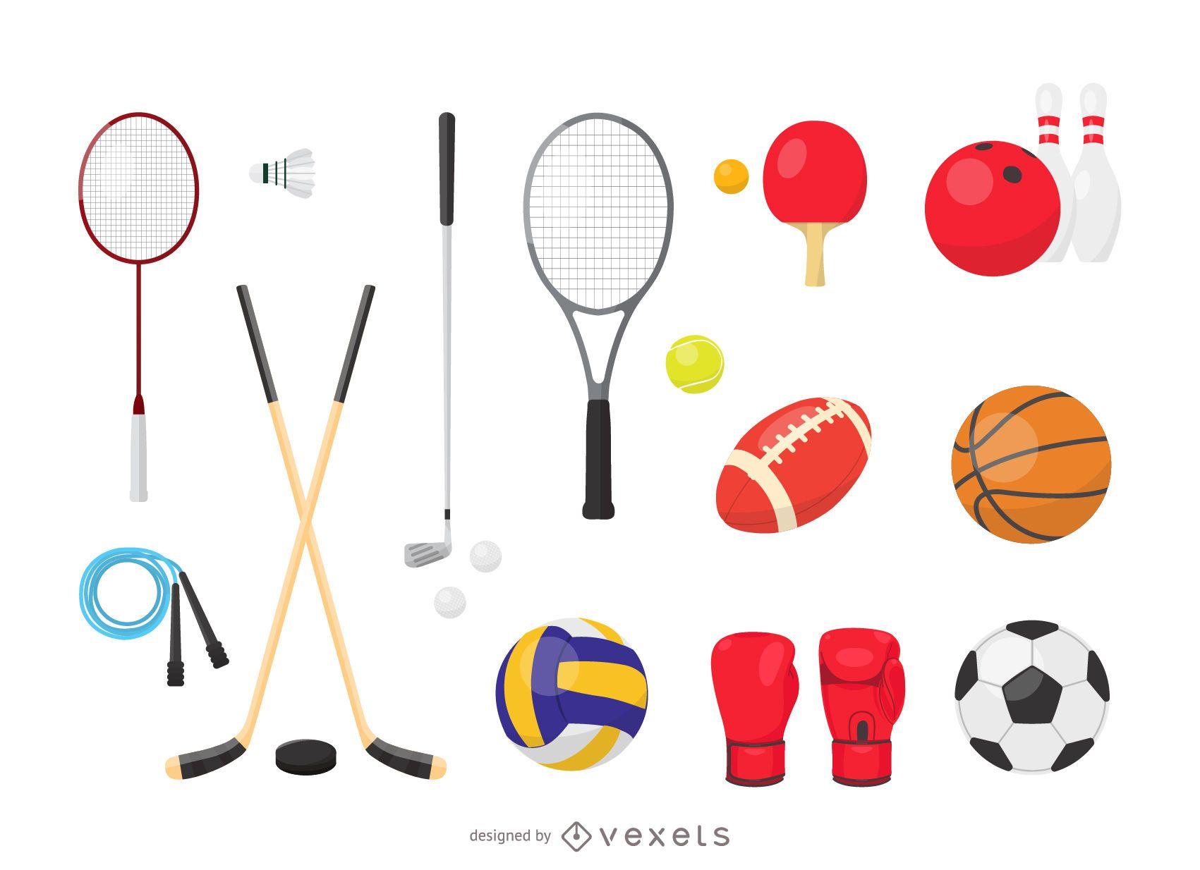 Conjunto de equipamiento deportivo de vectores