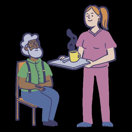 Plano de trabajador de hogar de ancianos