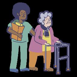 Piso de trabajador masculino de hogar de ancianos