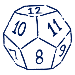 D12 RPG dice stroke