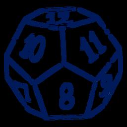 D12 RPG dice stroke