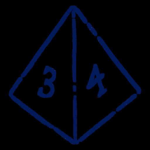 D4 RPG dice stroke