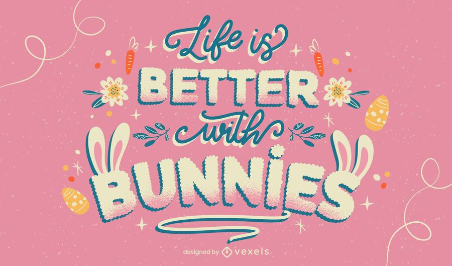Easter bunnies lettering