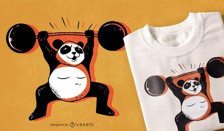 Diseño de camiseta de panda fuerte