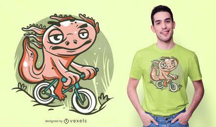 Design de t-shirt de bicicleta de equitação Axolotl