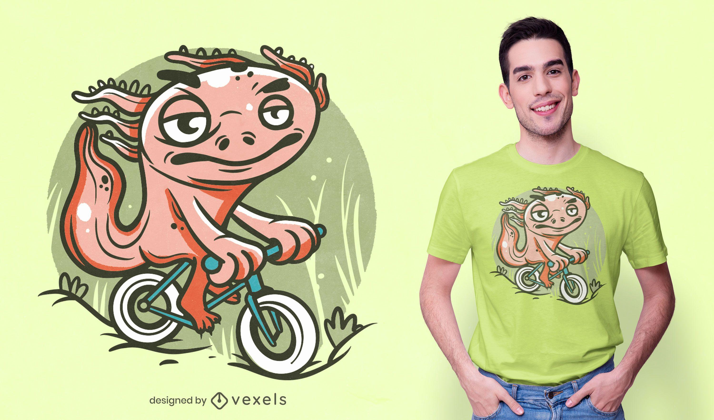 Diseño de camiseta de bicicleta de montar Axolotl.