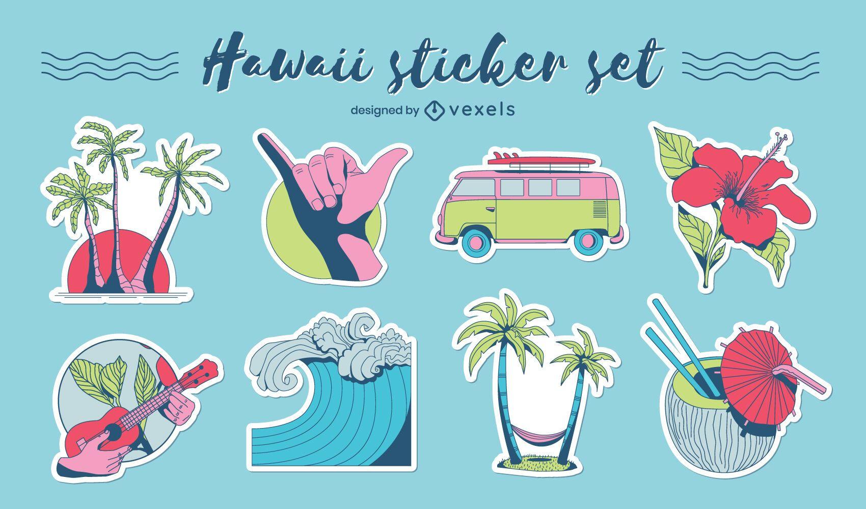 Conjunto de adesivos havaianos