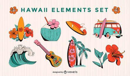 Conjunto de elementos hawaianos