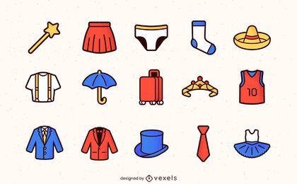 Ícones de traços coloridos de roupas