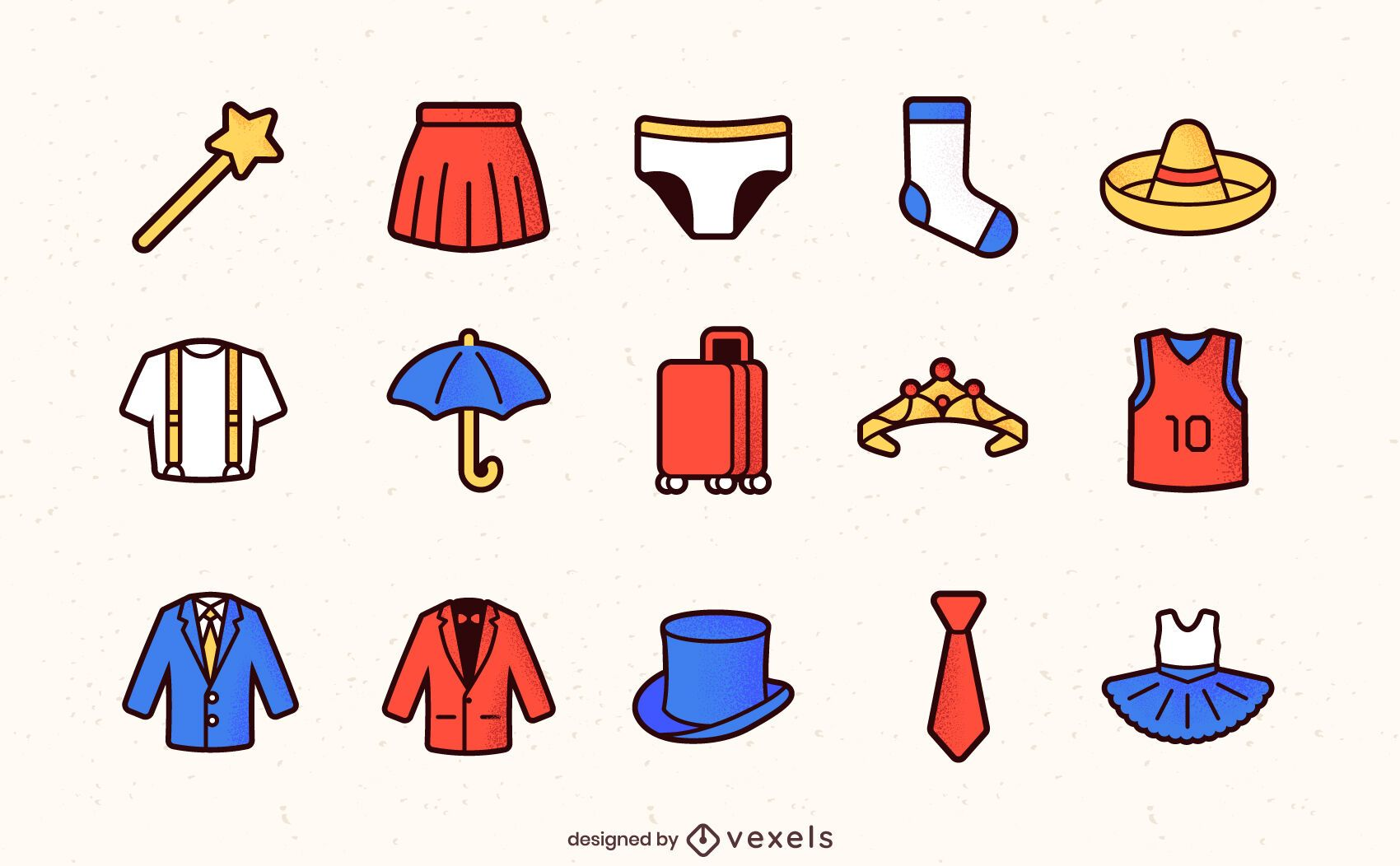 Clothing color-stroke icons