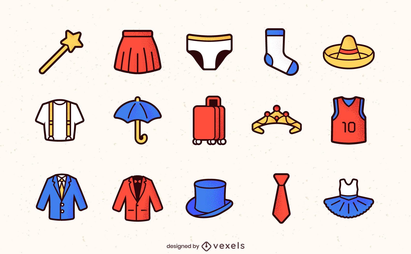 Iconos de trazo de color de ropa