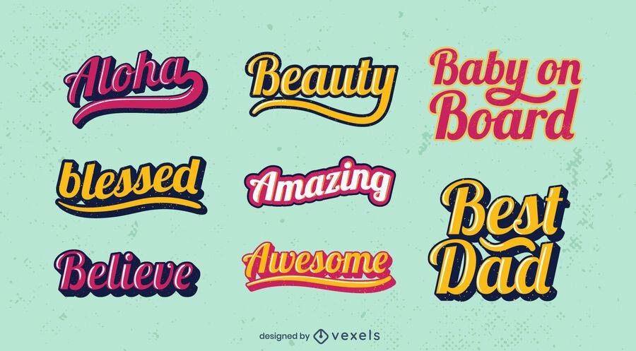 Retro positive lettering set