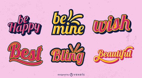 Positive retro lettering set