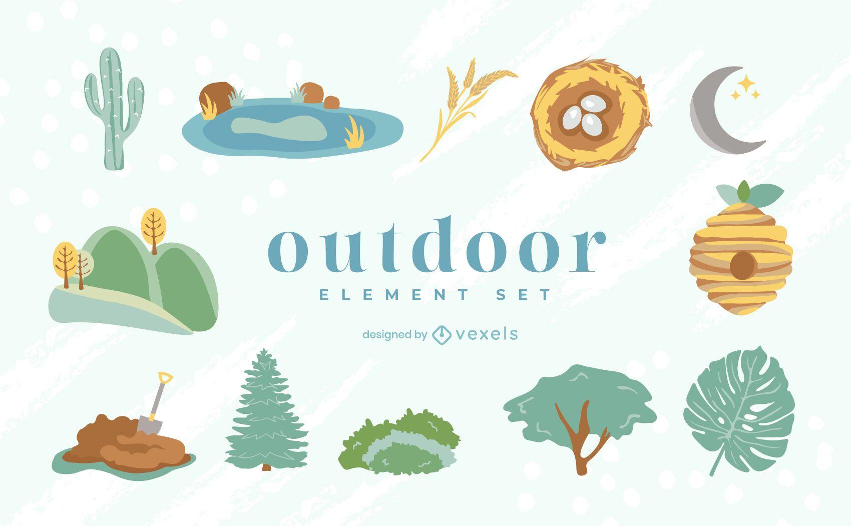 Outdoors flat element set