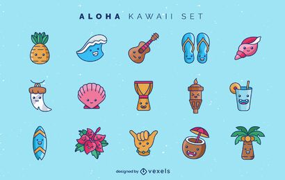 Aloha kawaii elements set