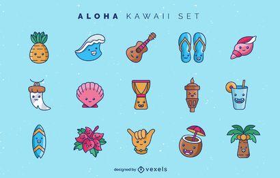 Conjunto de elementos kawaii aloha