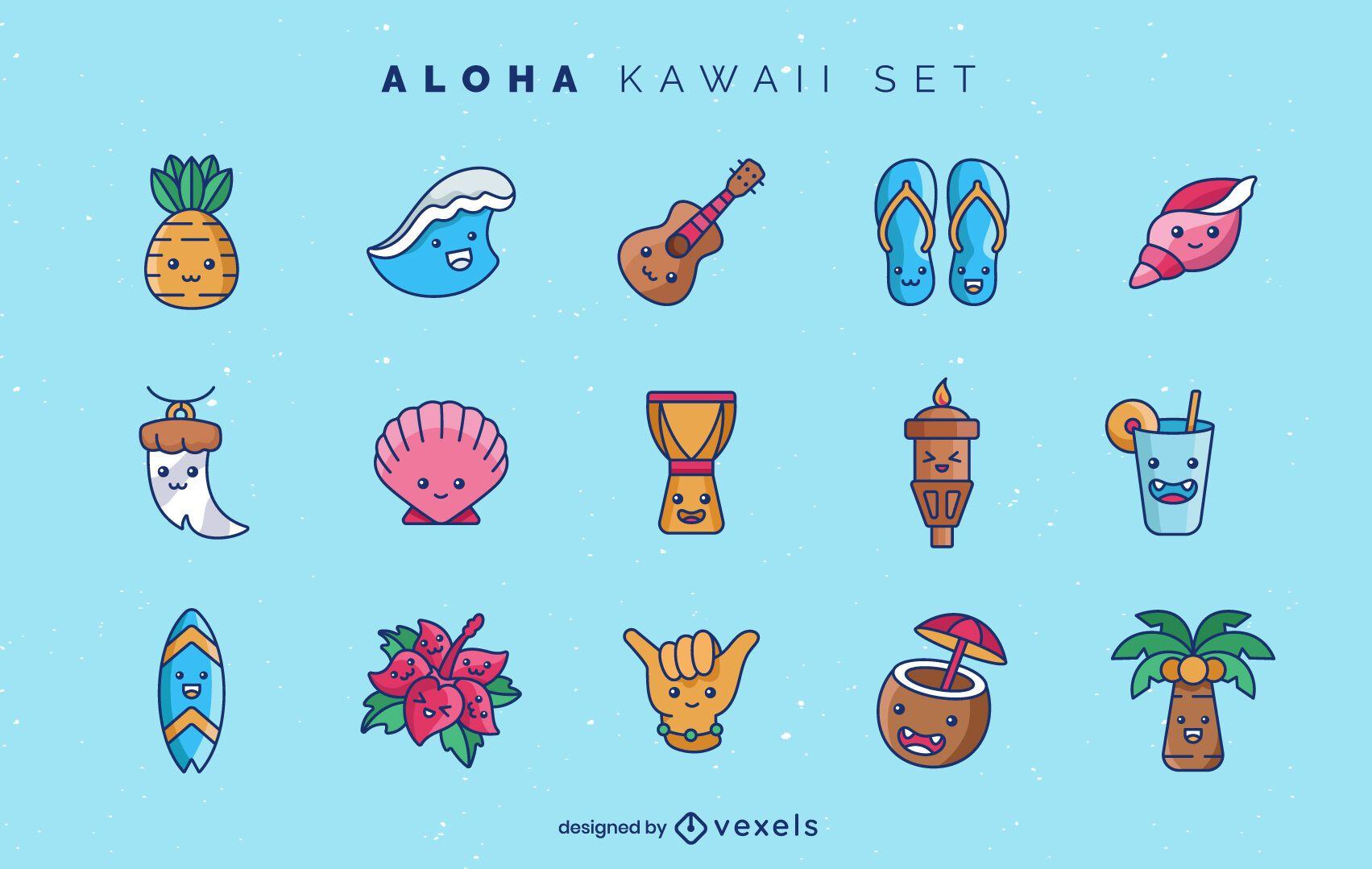 Aloha kawaii elements set