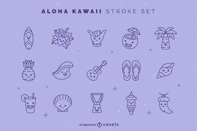 Conjunto de traços Aloha kawaii