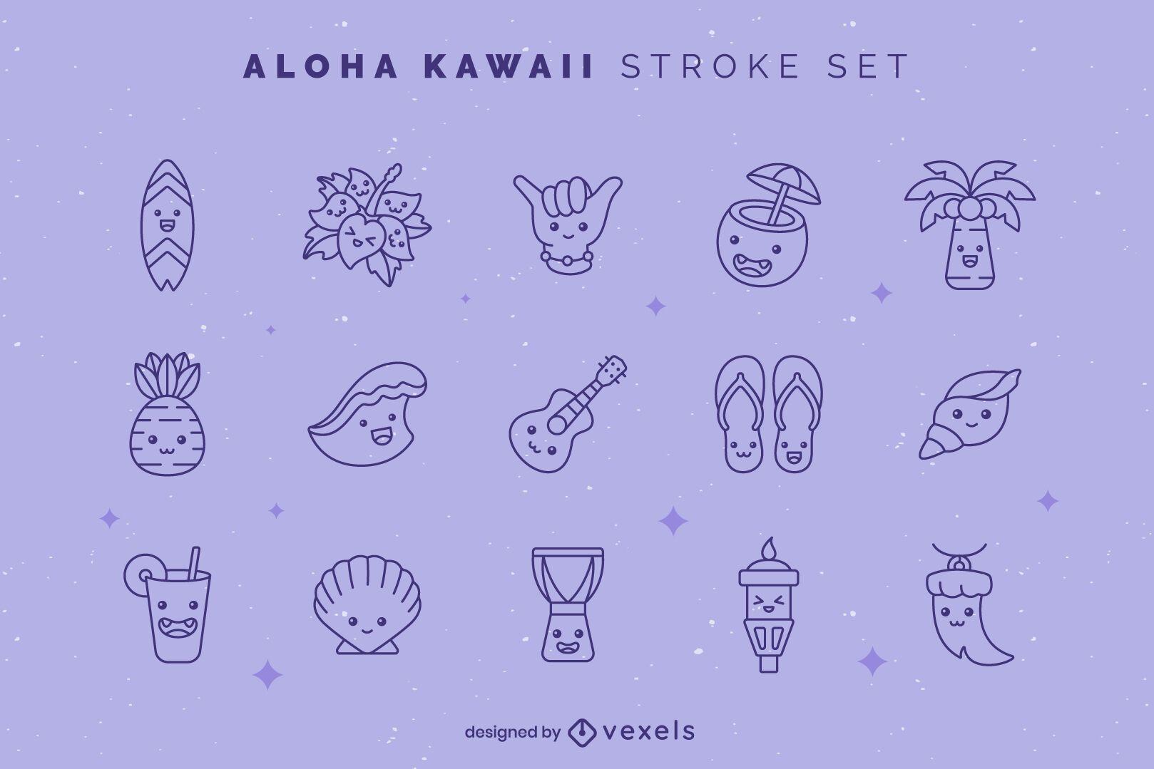 Aloha kawaii stroke set