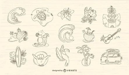 Hawaii hand-drawn set