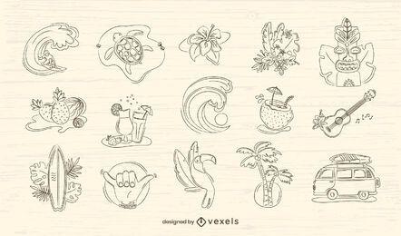 Hawaii handgezeichnetes Set