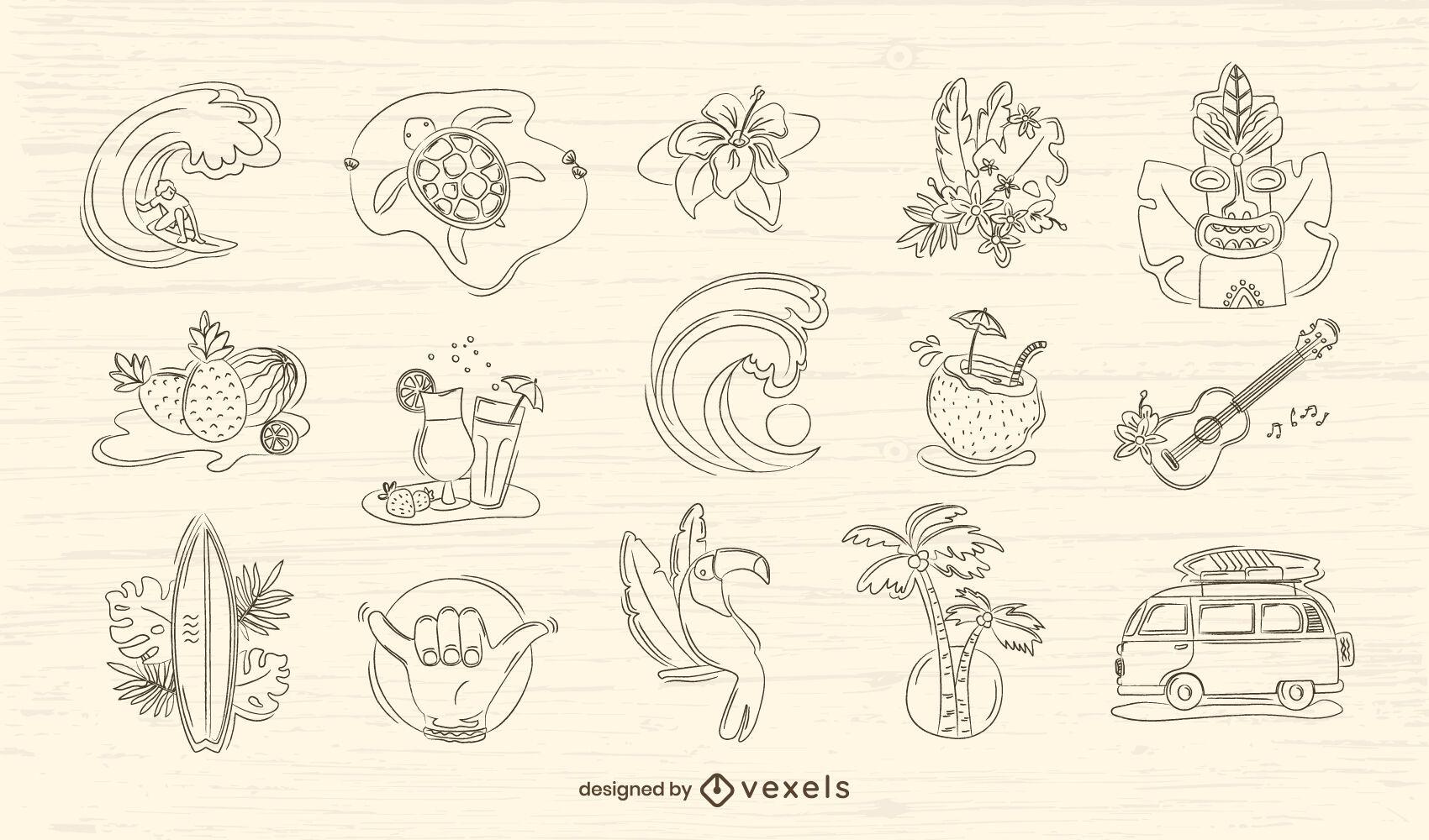 Conjunto dibujado a mano de Hawaii