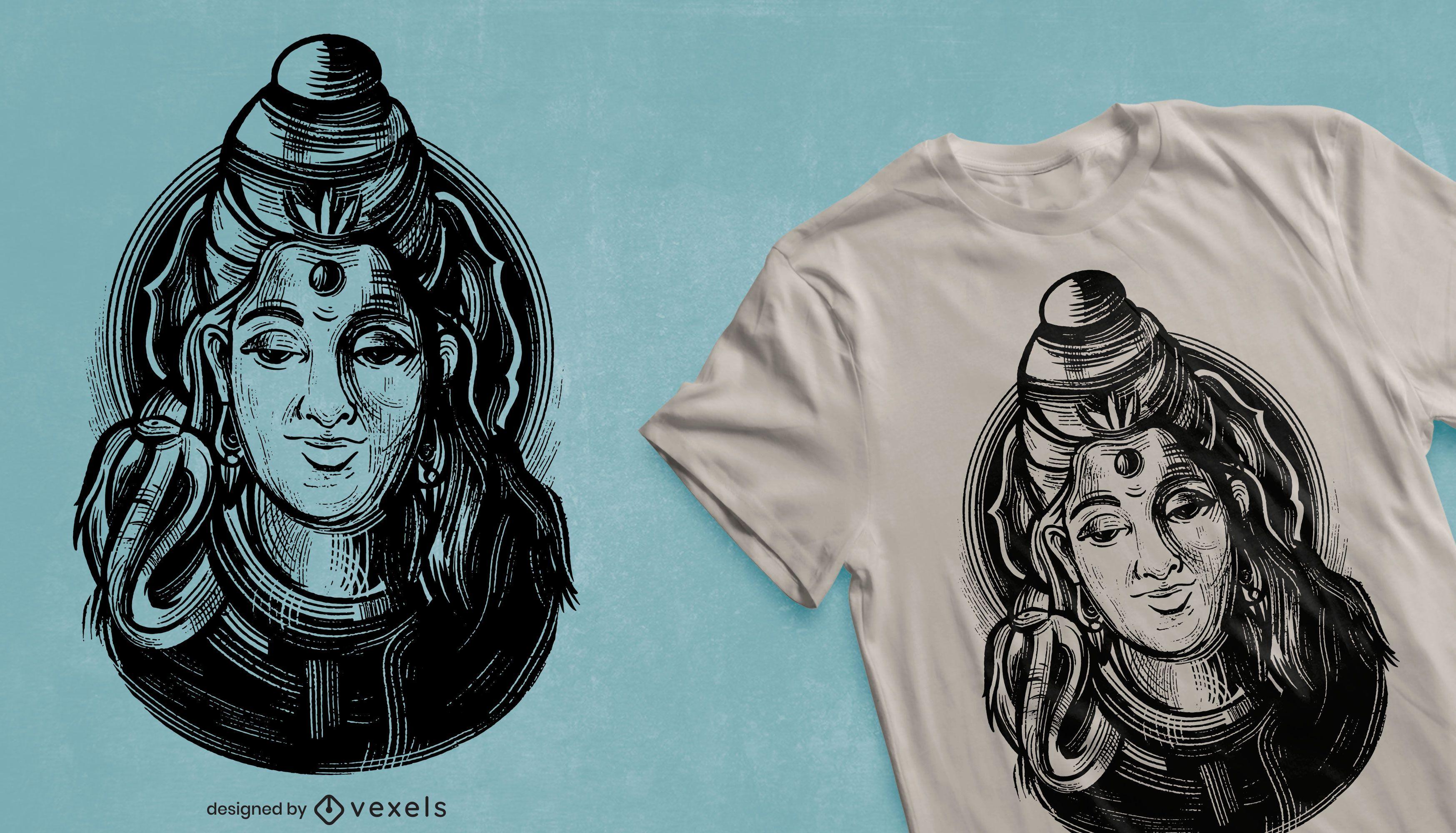 Diseño de camiseta Shiva god
