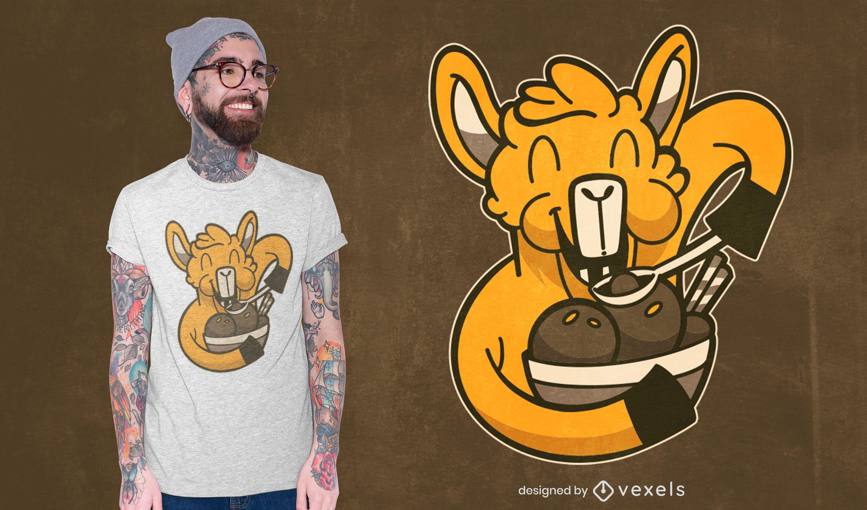 Lama Eiscreme T-Shirt Design