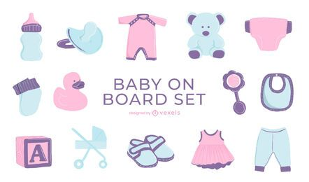 Conjunto de bebê semi-plano