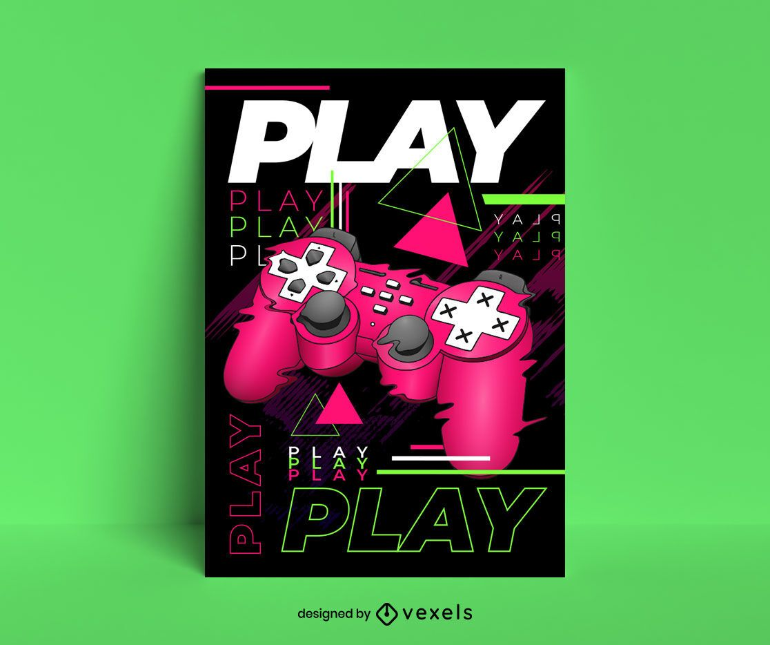 Play glitch poster template