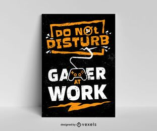 Gamer at work poster template