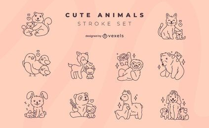Cute animal family stroke set
