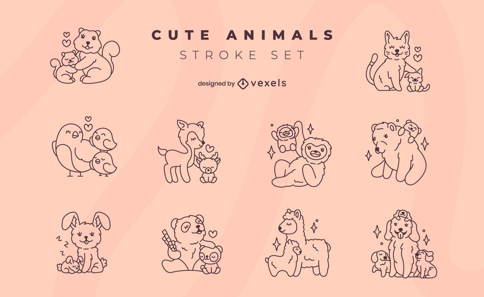 Cute animal family stroke set
