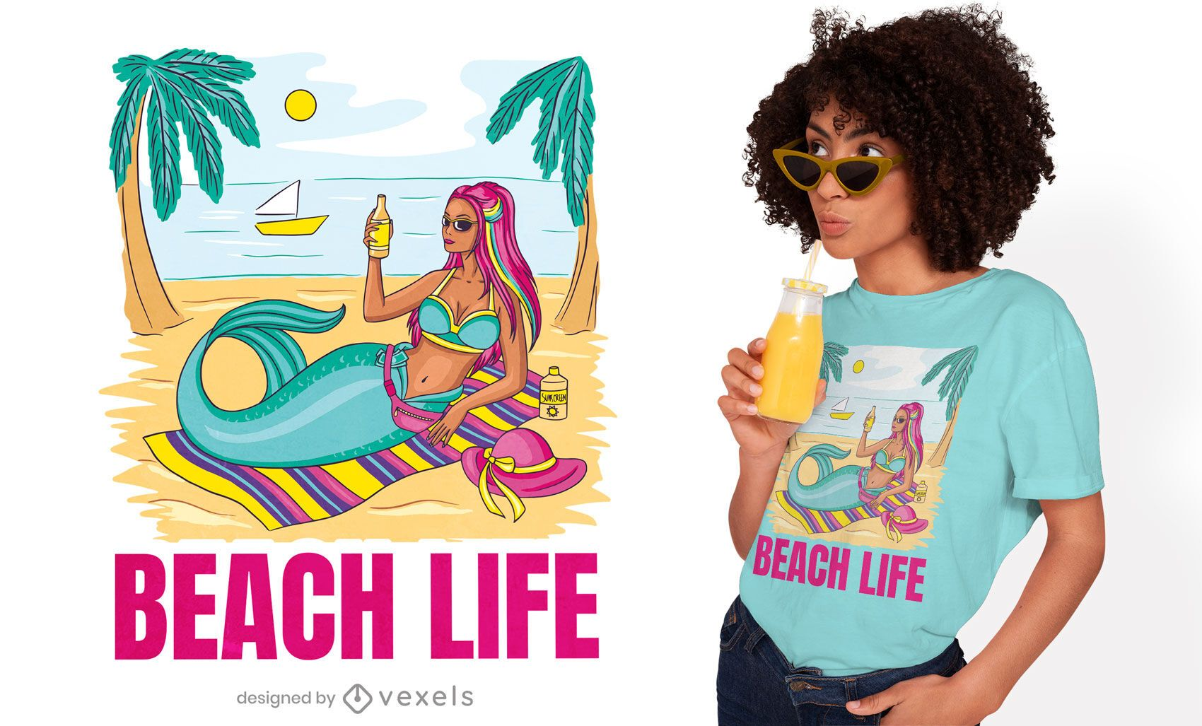 Mermaid lifestyle t-shirt design