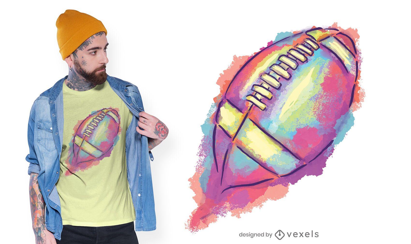 Watercolor football t-shirt design