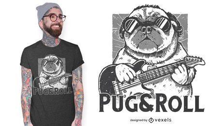 Diseño de camiseta Pug and Roll.