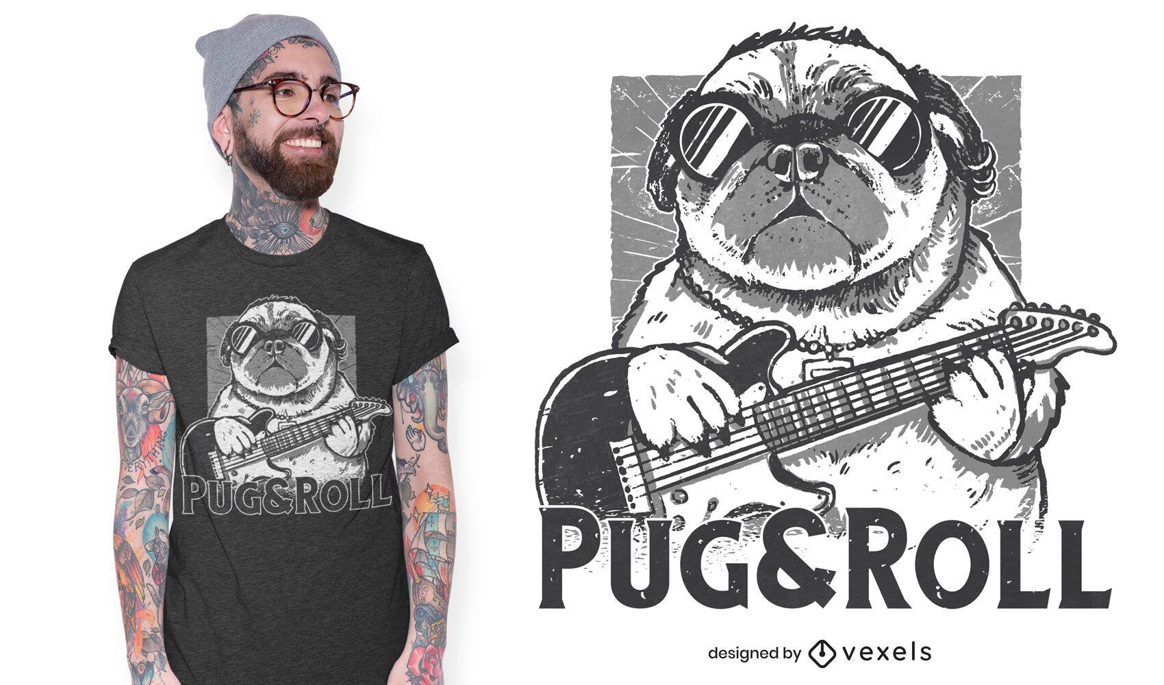 Diseño de camiseta Pug and Roll.