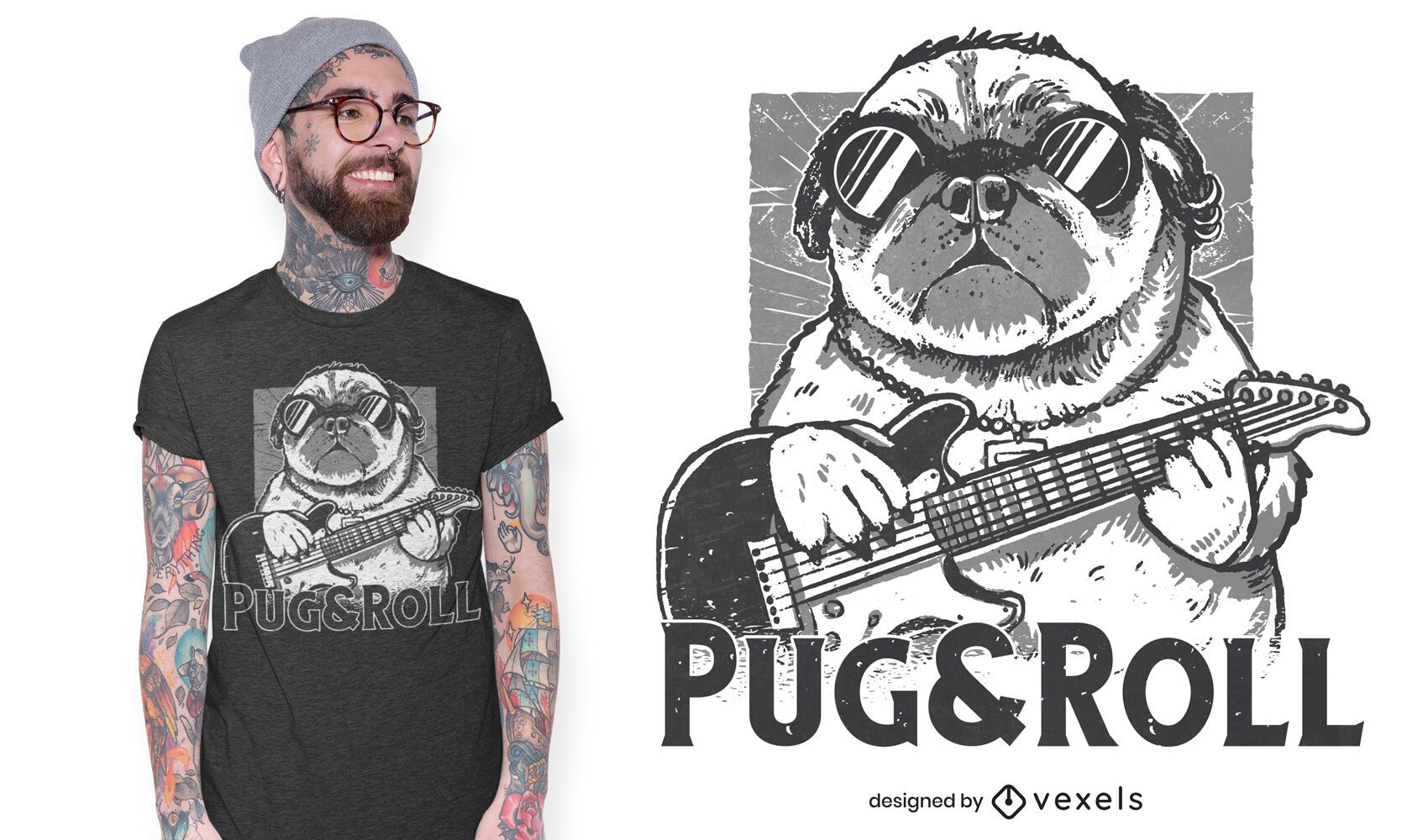 Pug and roll t-shirt design