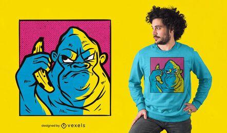 Diseño de camiseta de plátano gorila enojado