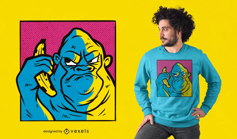 Angry gorilla banana t-shirt design