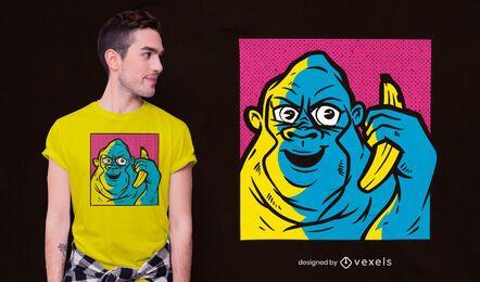 Diseño de camiseta gorilla banana call