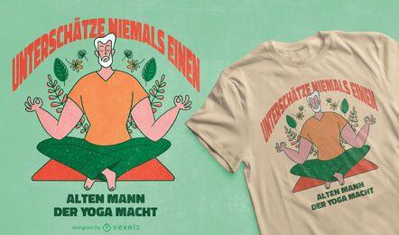 Desenho de t-shirt de ioga para velho
